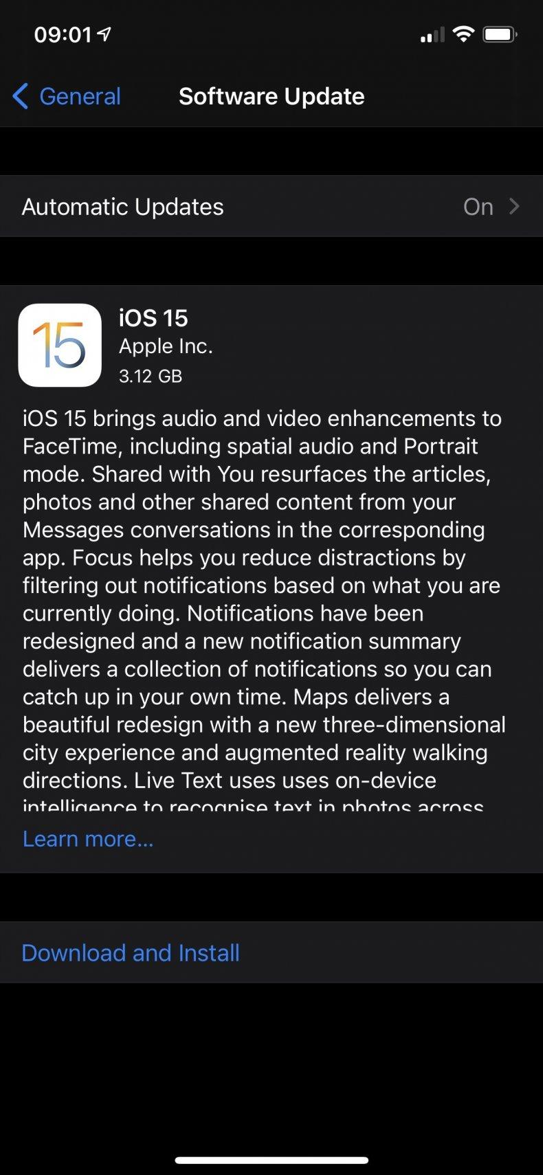 iOS 15 Software Update