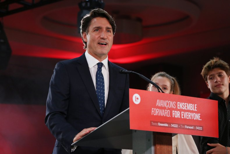 Justin Trudeau giving victory speech in 2021.