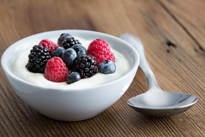 Bowl of berries and cream
