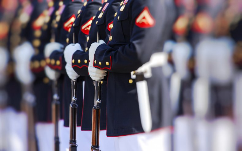 Marines in uniform lined up
