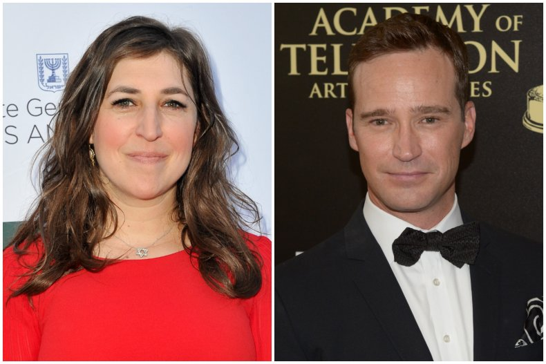 """""""Jeopardy!"""" host Mayim Bialik and Mike Richards"""