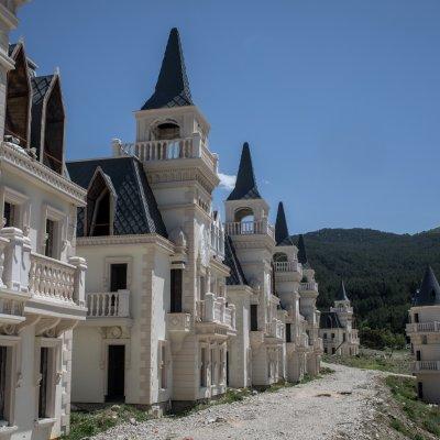 Abandoned half-built mansions in Turkey.