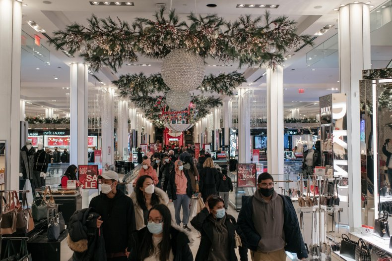 Shoppers in Macy's at Christmas