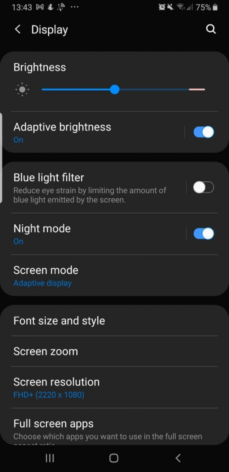 Night Mode on Android Cell Phone