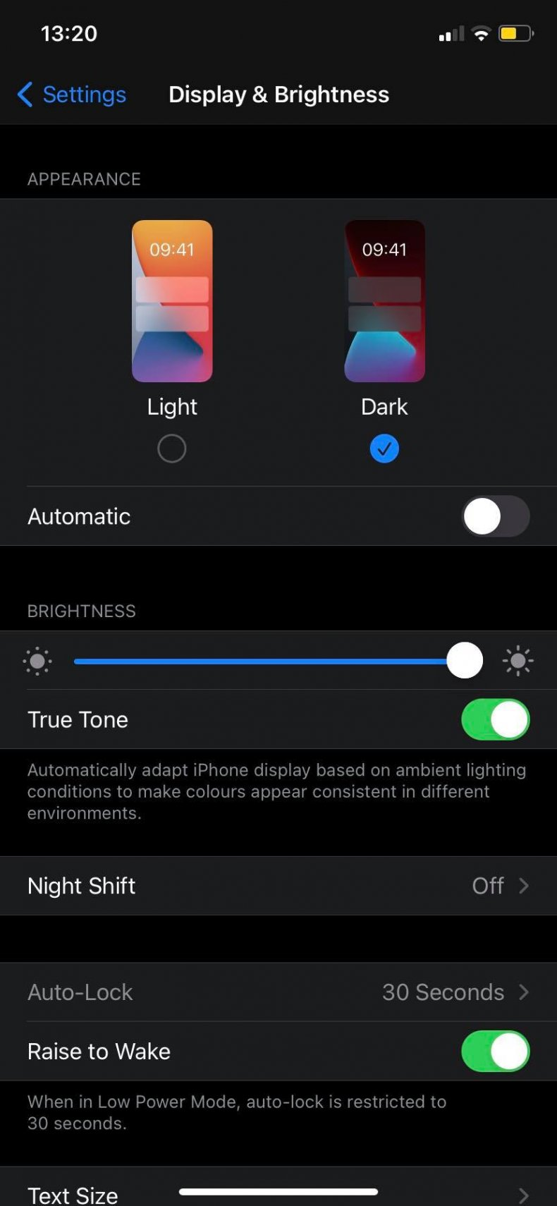 Dark Theme on an iPhone