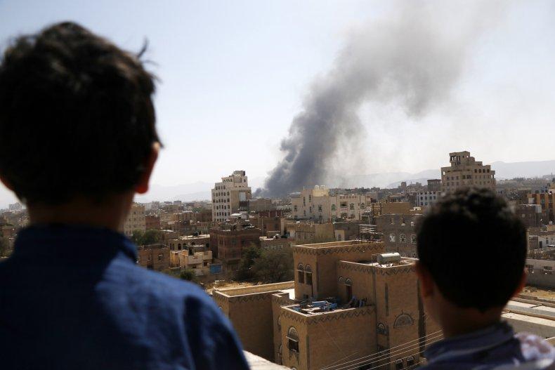 Saudi, Arabia, coalition, airstrike, Sanaa, Yemen