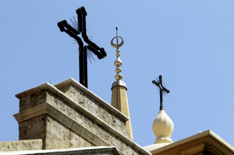 Crosses and minaret