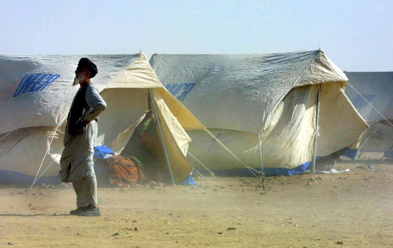 Afghan Refugees Gather at UNHCR Camp on