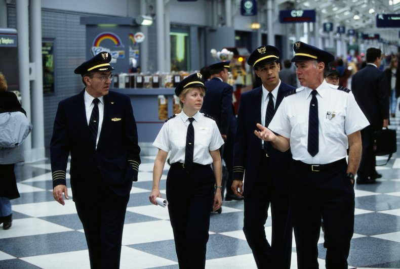 United Airlines Pilots Walking Through Airport