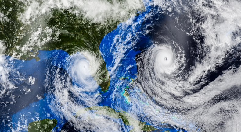 File photo of hurricanes from space.