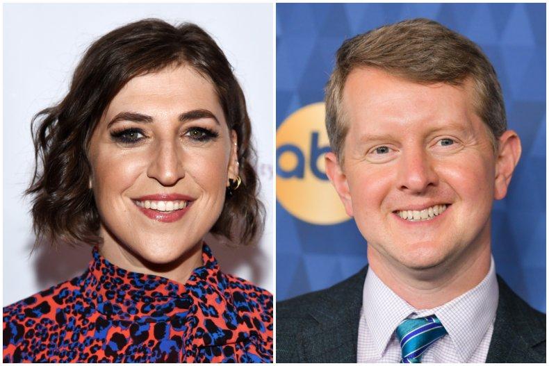 """Jeopardy!"" hosts Mayim Bialik and Ken Jennings"