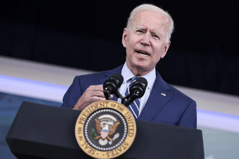 U.S. President Joe Biden gestures as he
