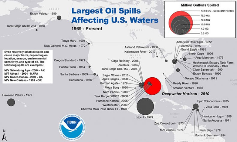 Largest Oil Spills U.S Waters