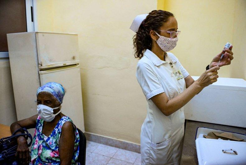 Cuba, elderly, woman, nurse, COVID-19, vaccine
