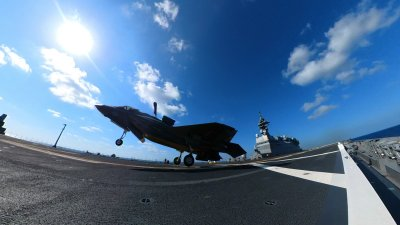 American Jets make first landing on Japanese carrier