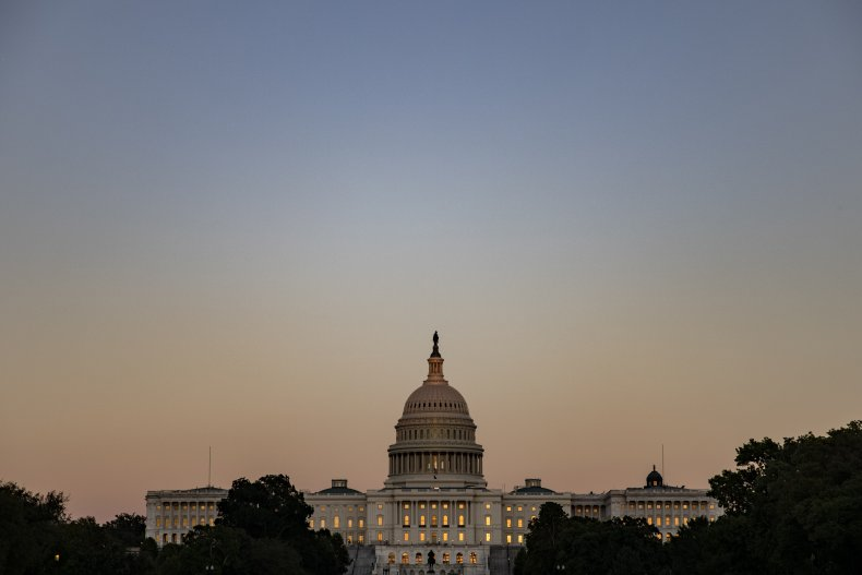 The U.S. Capitol building is seen down