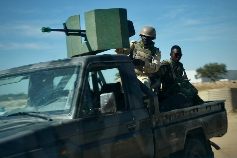 Niger Army soldiers on security patrol