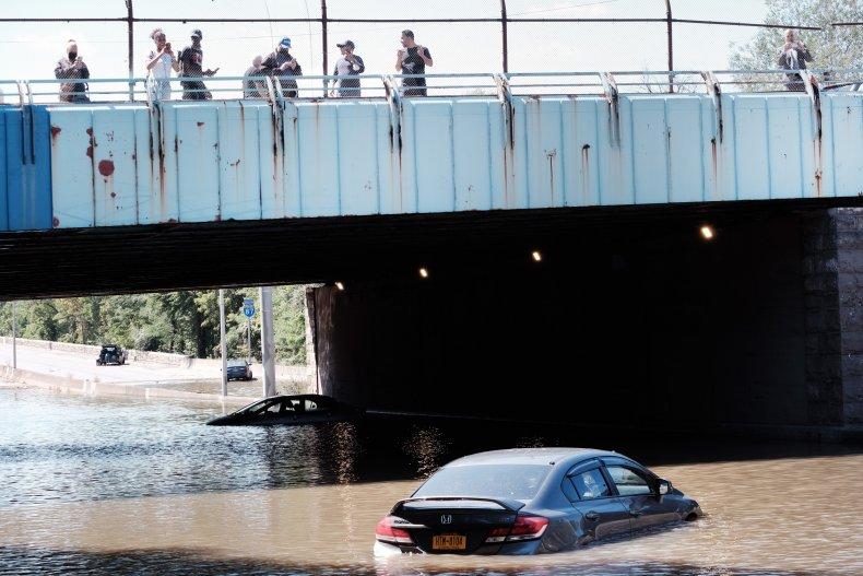Cars abandoned on flooded Major Deegan Expressway