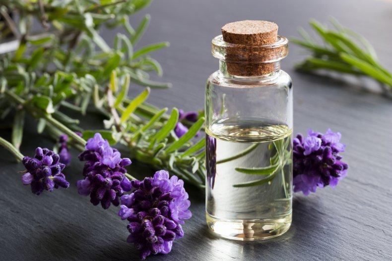 A bottle of lavender essential oil.