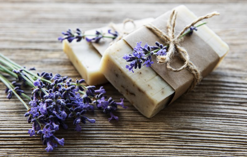 Bars of soap made with lavender.