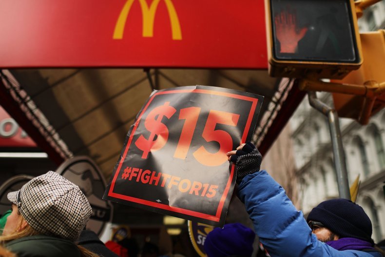 Protesters with NYC Fight for $15 gather