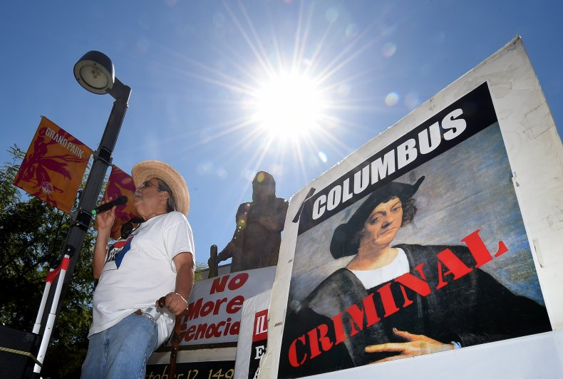 A protest against Columbus Day in LA.