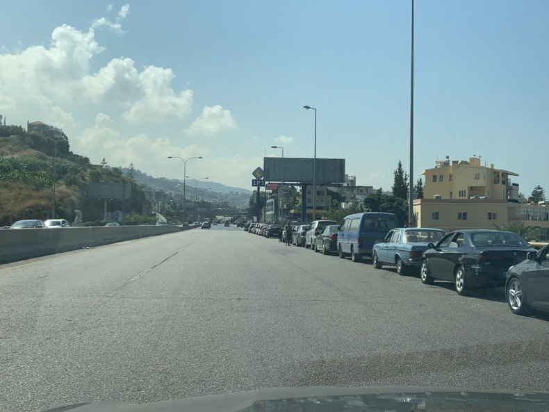 Cars waiting for fuel in Beirut
