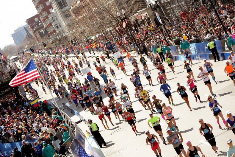 Runners in the 2016 Boston Marathon.