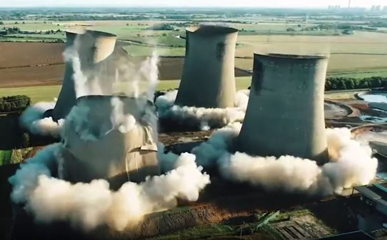 Screengrab of Eggborough power plant demolition.