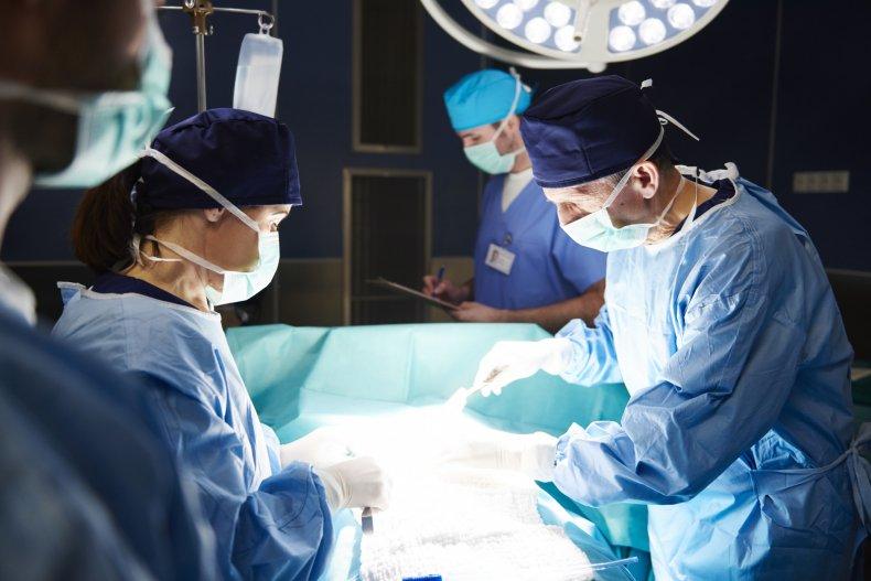 Organ transplant surgery taking place