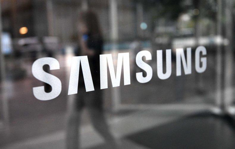 A Samsung logo seen on a window.