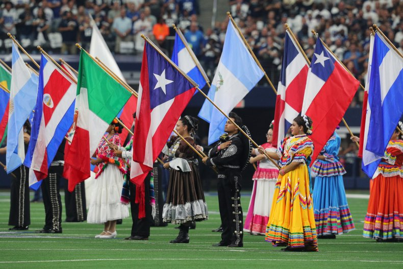 Flags are displayed during the national anthem