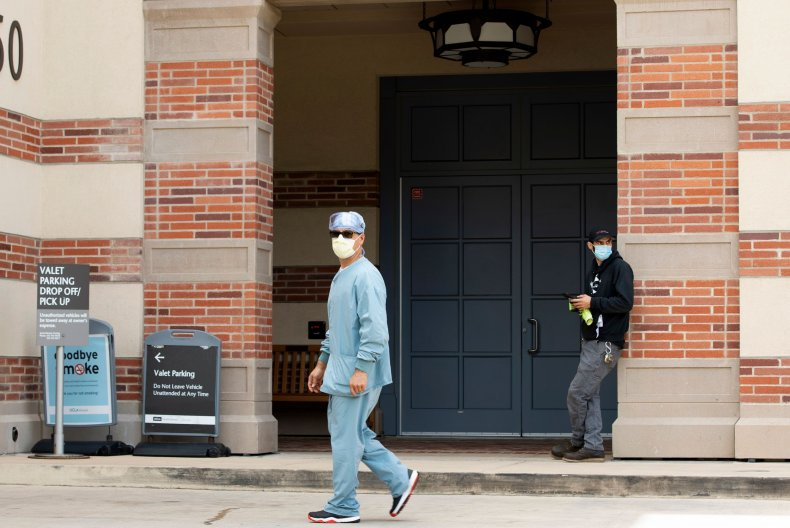 Medical personnel are seen at UCLA hospital