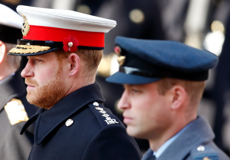 Prince Harry and Prince William at Remembrance