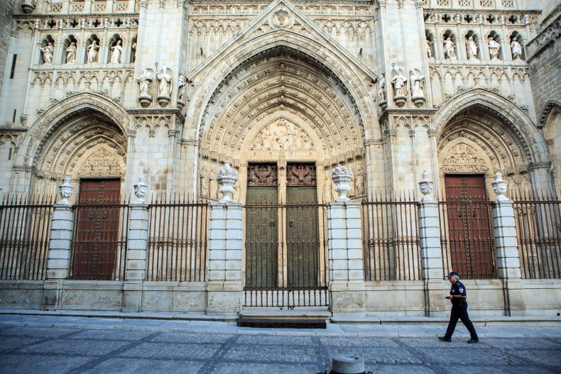 The entrance of Toledo Cathedral in Spain.