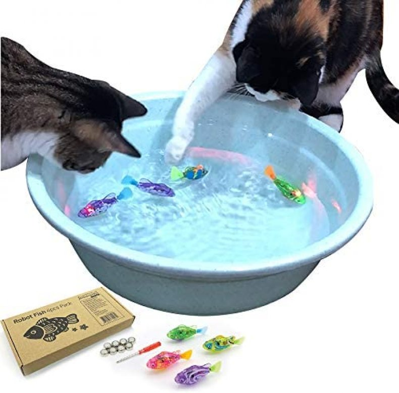 Interactive floating fish toy