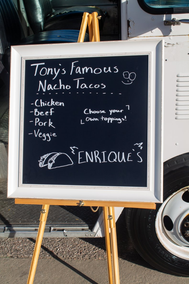 Sign outside Tony's food truck
