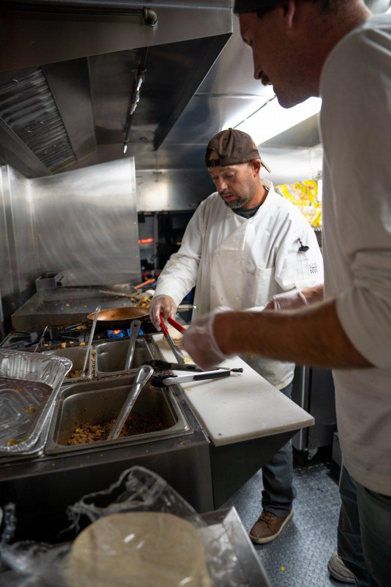 Tony Rojas in the kitchen