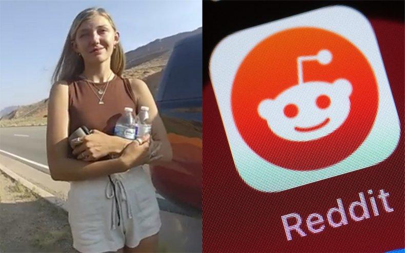 Gabby Petito and the Reddit logo.