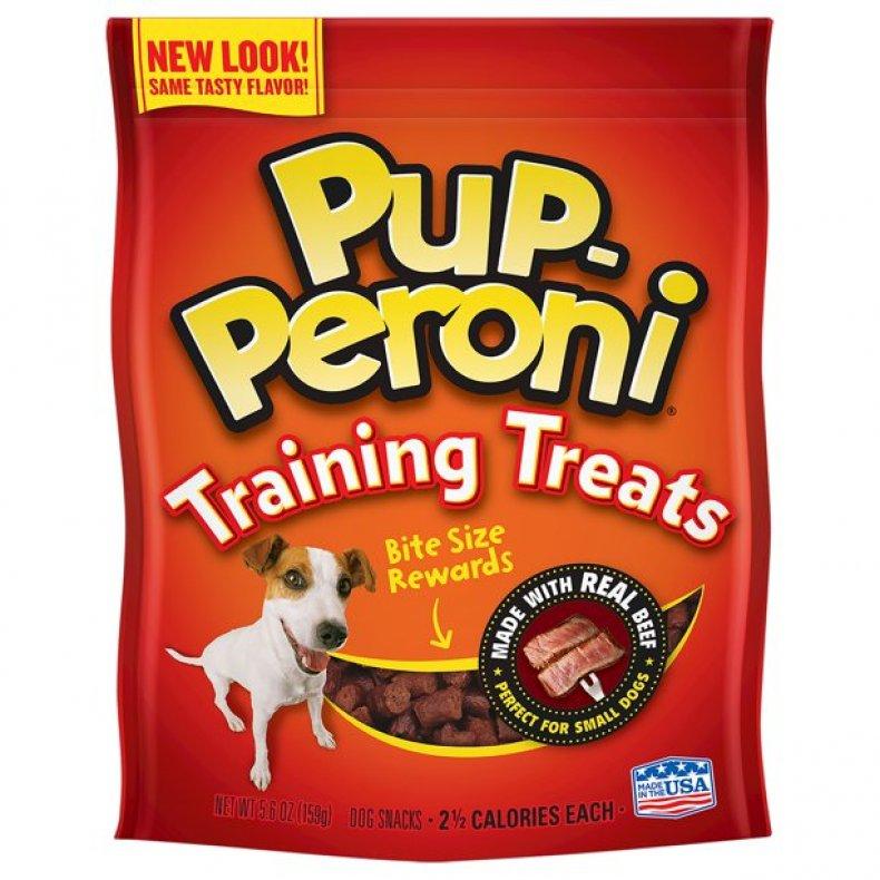 A packet of Pup-Peroni dog training treats.