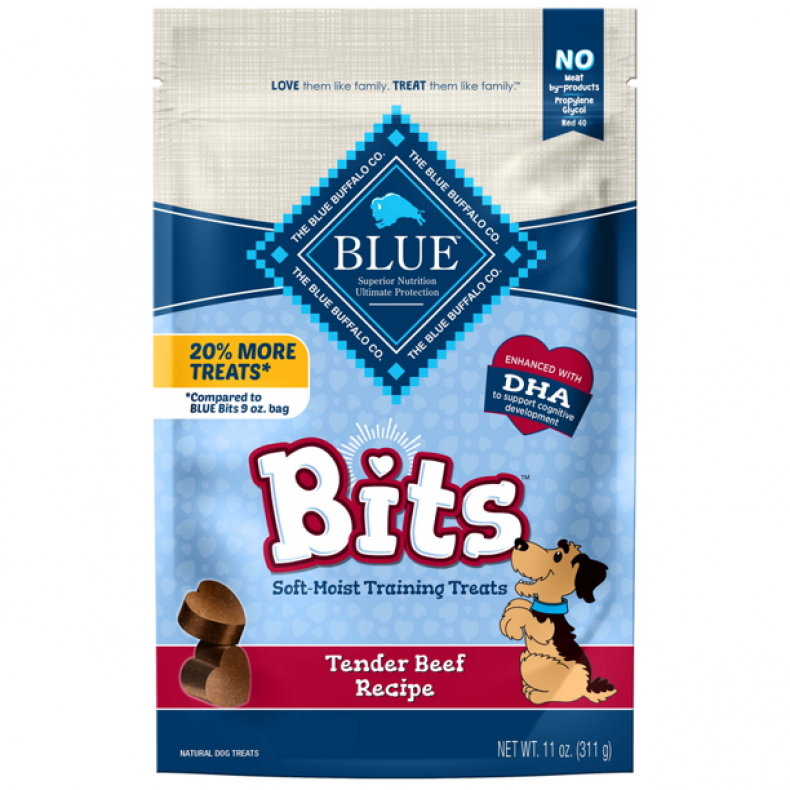 Blue Buffalo Bits dog training treats.