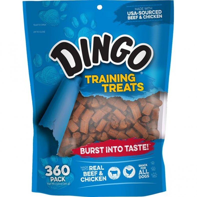 A bag of Dingo dog training treats.
