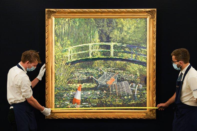 """Banksy's """"Show me the Monet"""" piece."""