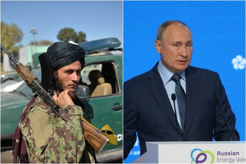 A Taliban fighter and Russian president Putin