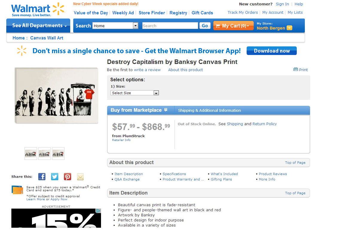 picture about Walmart Printable Job Application identified as Walmart Eliminates Wrong Banksy Damage Capitalism Print