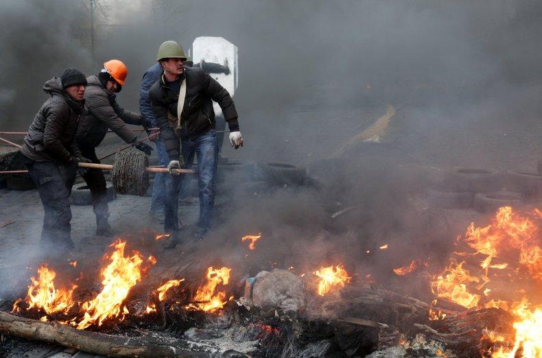 Ukraine fire protest