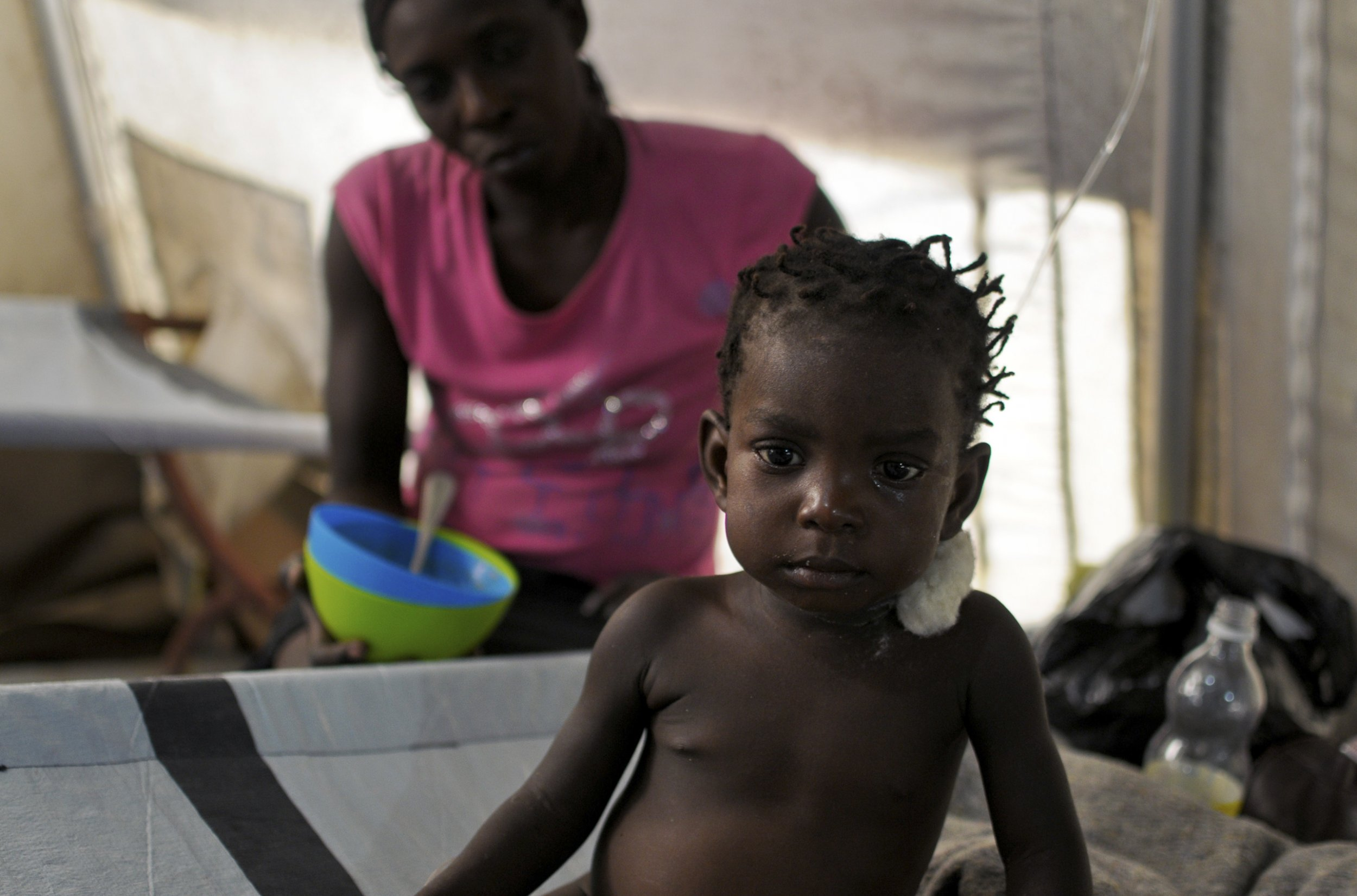 Haitian girl with cholera