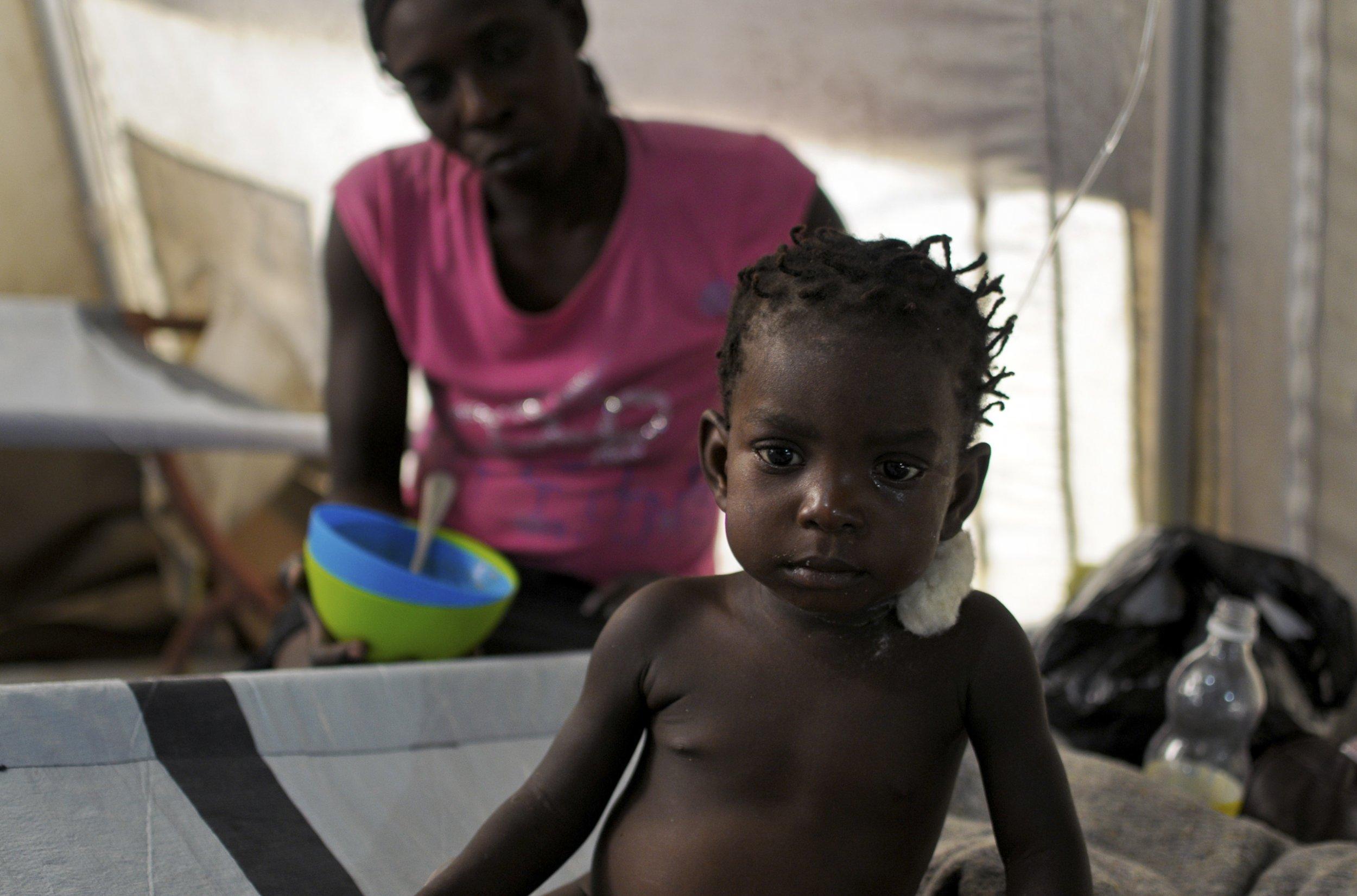 Haitian girl with cholera