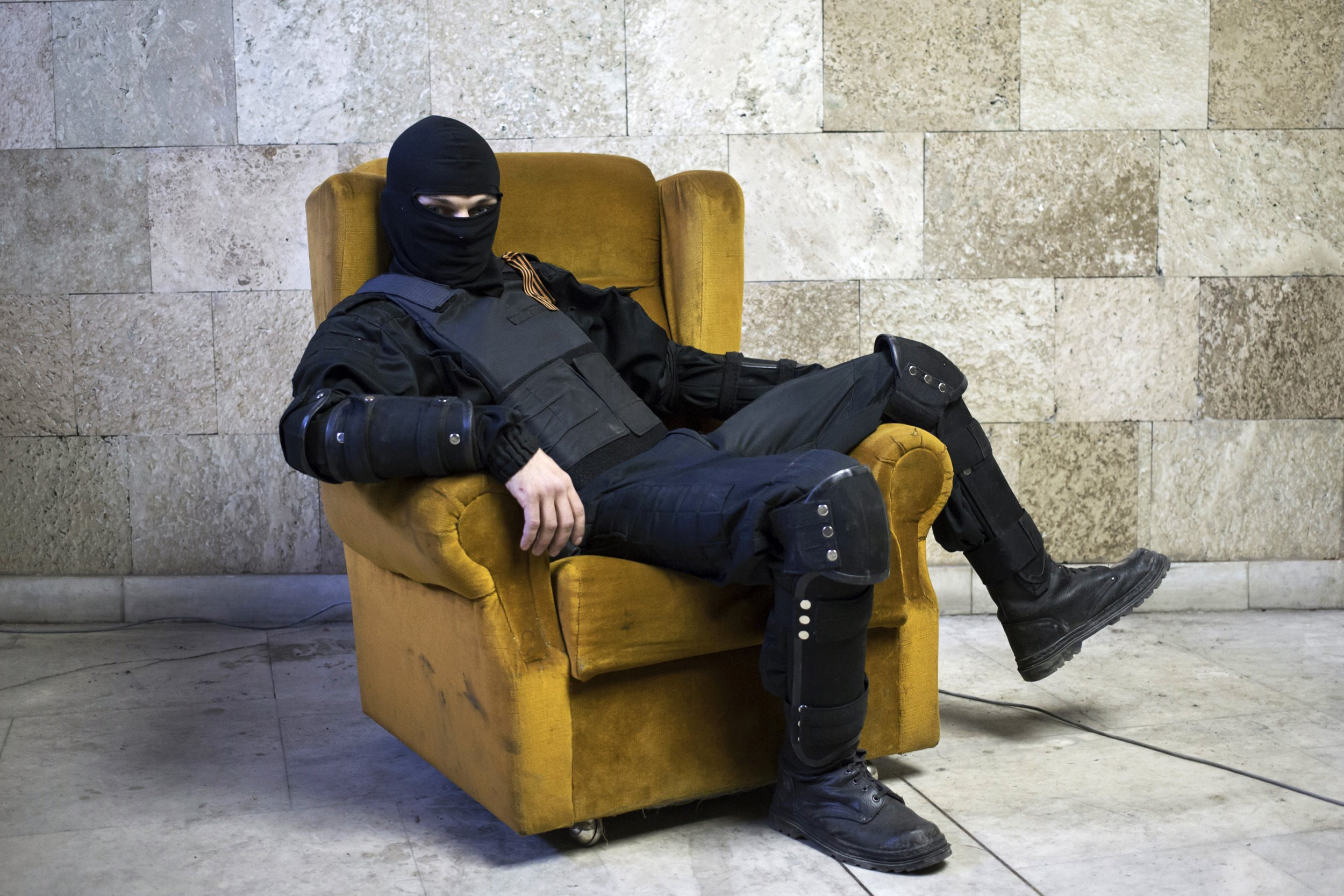 Masked Russian protester