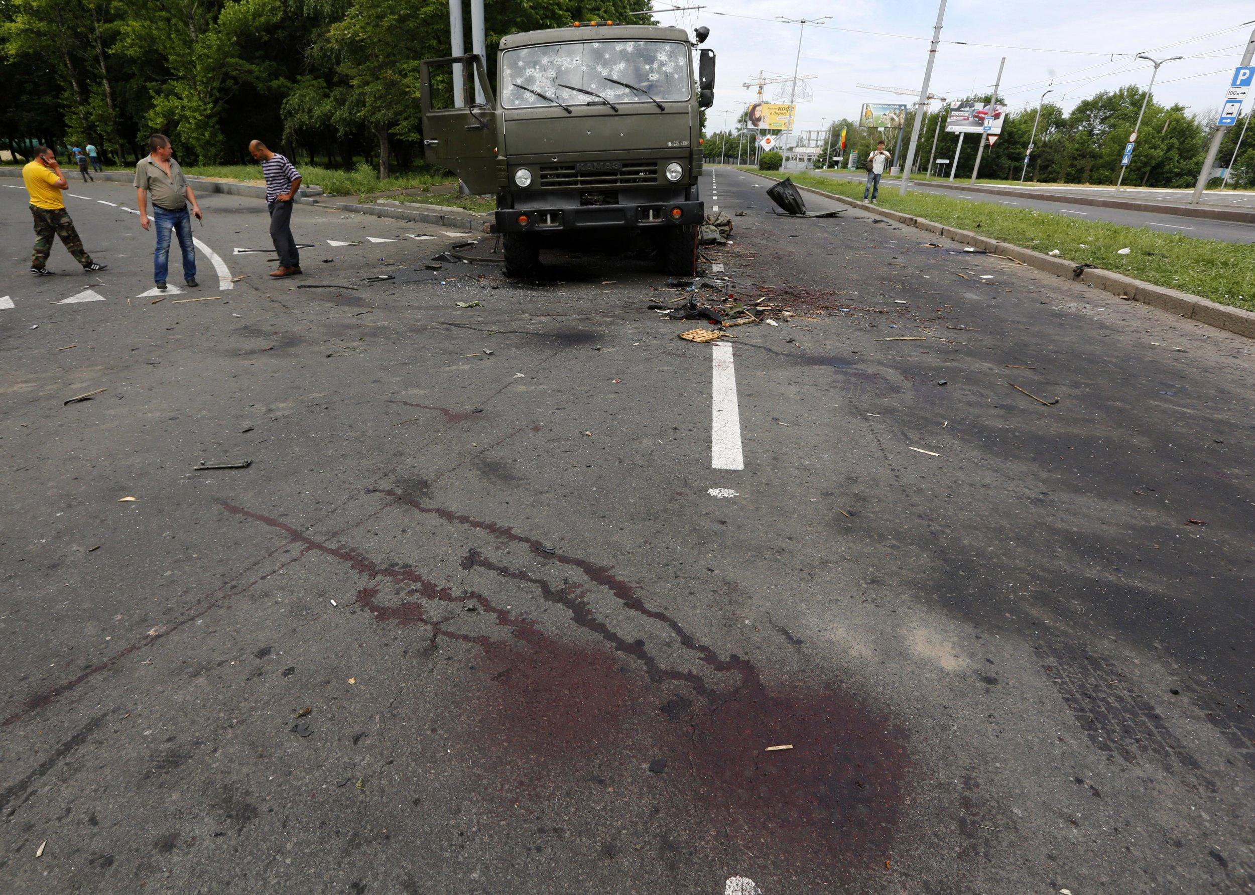 wrecked truck Ukraine